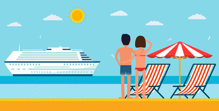 cartoon umbrella: Vacation and travel. Cartoon young couple by the sea looking at a cruise ship. Sea beach with lounger and umbrella.