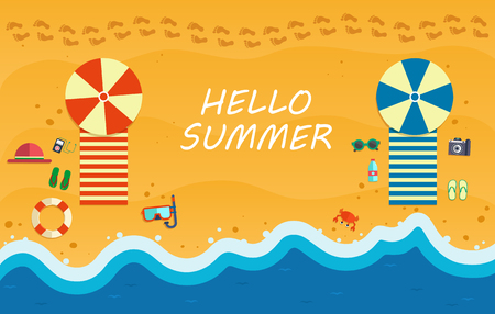 Summer beach with waves and beach accessories. Illustration