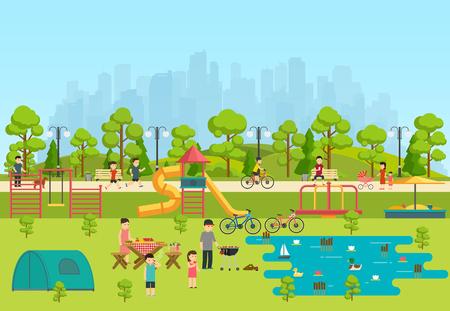 Openbaar park met een speeltuin en een meer, kamperen in het park.