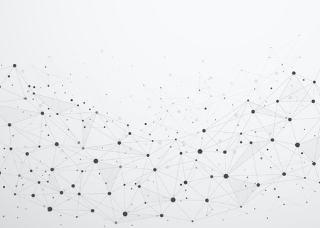 ポイントとラインを含むグローバルネットワーク接続。ネットワーク通信のワイヤフレーム。