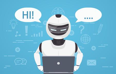 로봇은 랩톱 컴퓨터를 사용합니다. 채팅 봇, 가상 온라인 도우미의 개념. 일러스트