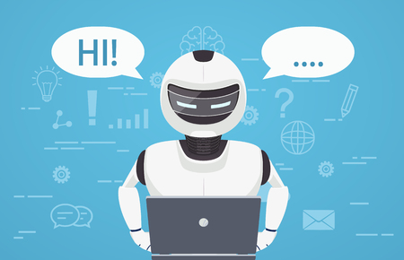 Robot uses laptop computer. Concept of chat bot, a virtual online assistant.