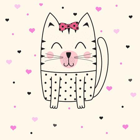 Leuk kattengezicht. Kinderafbeeldingen voor t-shirts.