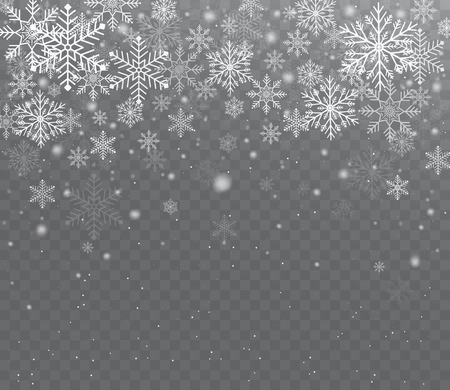 Falling shining transparent snow. Christmas snow with snowflakes. Vectores