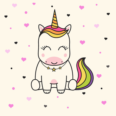Cute unicorn face. Childrens graphics for t-shirts.