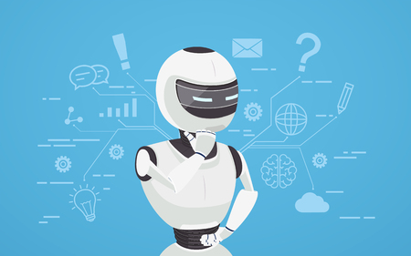 Chat bot thinks, virtual robot assistance. Concept of chat bot, a virtual online assistant. Иллюстрация