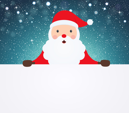 Santa Claus pointing in white blank cloth on snowy background. Illustration