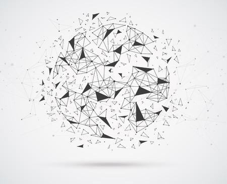 Wereldwijde netwerkverbindingen met punten en lijnen geometrische vorm met bolvormige driehoekige vlakken. Draadframe van netwerkcommunicatie.