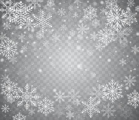 異なる形で雪が降る。透明な背景に雪の結晶とクリスマスの雪。降雪。白い雪が空を飛んでいる。  イラスト・ベクター素材