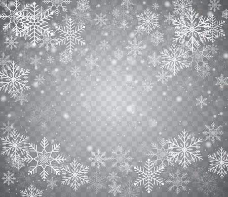 Falling snow  in different shapes. Christmas snow with snowflakes on transparent background. Snowfall. White snowflakes flying in air.