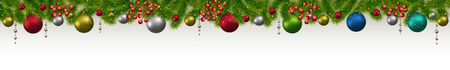 モミの木、花輪やベリーとクリスマスと新年のバナー。 クリスマスカード、チラシまたはサイトヘッダー。