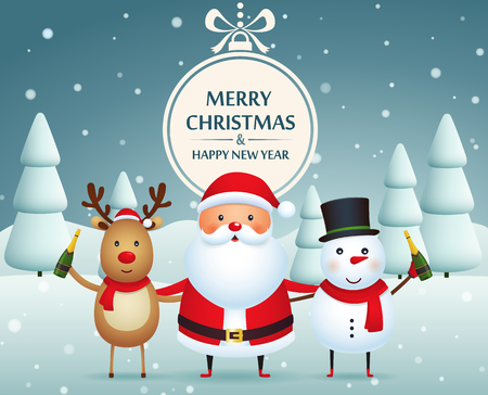 Christmas companions, santa claus, snowman and reindeer  with champagne on a snow-covered background with Christmas trees. Merry christmas and happy new year. Illustration