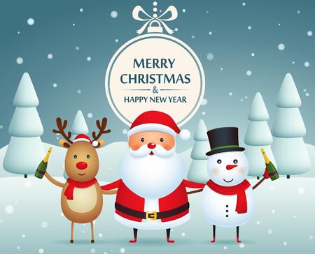 Kerst metgezellen, de kerstman, sneeuwpop en rendieren met champagne op een met sneeuw bedekte achtergrond met kerstbomen. Vrolijk kerstfeest en een gelukkig nieuwjaar.