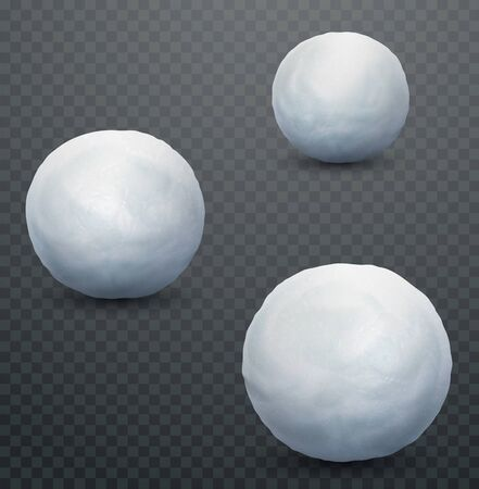 White snow ball. Realistic snow mass. Winter decoration