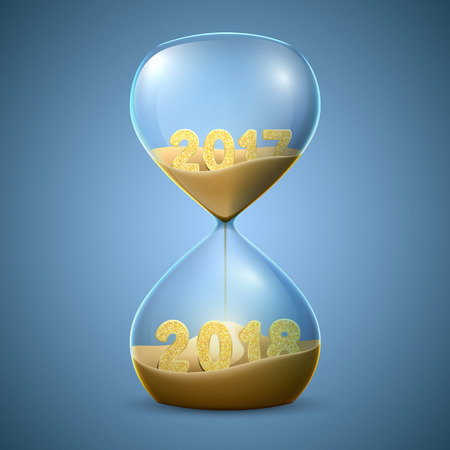 Hourglass. New Years concept of transition from 2017 to 2018.
