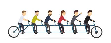 Uomini d'affari in sella a una bicicletta a cinque posti. Concetto congiunto di successo del team.
