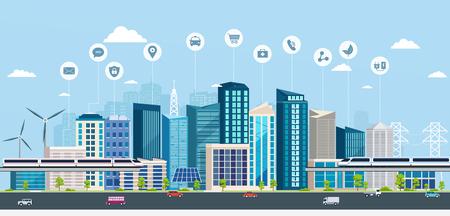 Smart City con segni di affari. Città moderna di concetto online. Paesaggio urbano con infrastrutture di trasporto