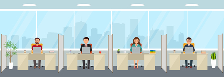 Modern office interior with employees. Creative office workspace with big window, furniture in interior, desktop, laptop.