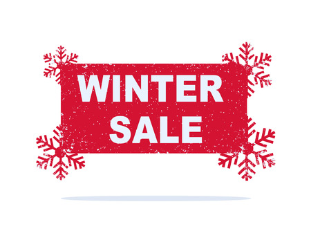 Red winter sale sticker with snowflakes. Vector illustration.
