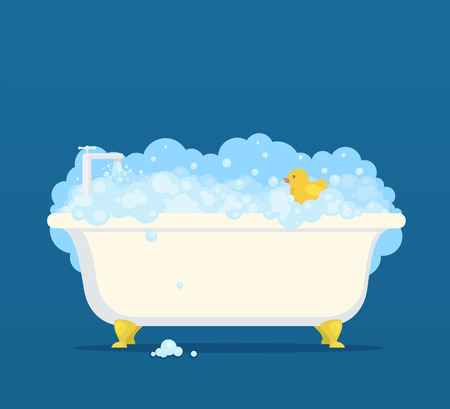 Bathtub with soap bubbles and cute duck Vector illustration.