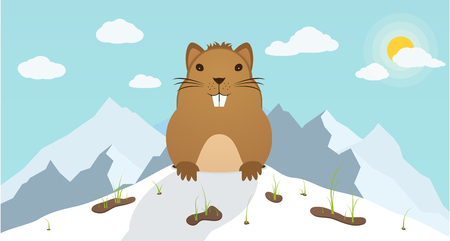 Groundhog Day. Marmot climbed out of hole on background mountains. Beginning of the festive festival. Illustration