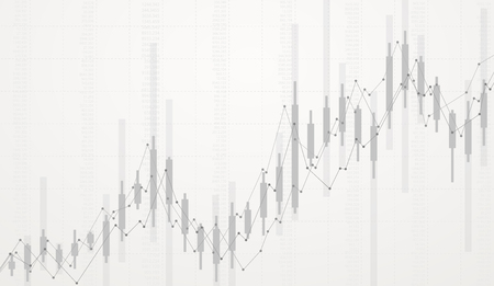 Business candlestick chart growth of trading in stock market investment.