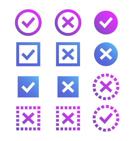 Check mark icon, blue and purple marks and crosses. Symbols of the recommendations are correct and incorrect. Illustration