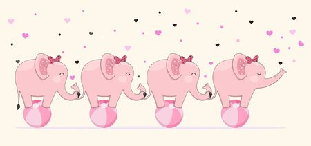 Cute elephants stick together standing on ball, childrens graphics. Stock Illustratie
