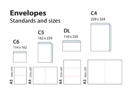 Sobres estándar internacionales para papel o documentos C6, C5, DL, C4. Plantillas de plegado de folletos, cuadernillos, folletos de formato A para sobres. Ilustración de vector