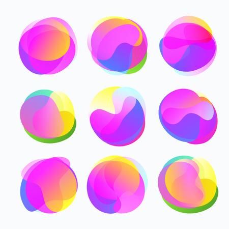 Abstract color forms. Gradient fluid circles in gentle tones.
