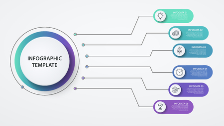 Infographics circles 6 options or steps. Business concept, block diagram, information graph, pie chart processes.