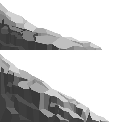 Mountain of large rock and stone. Set of boulders, graphite coal.