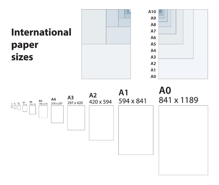 International standard of paper sizes for printing A0 - A10  type.