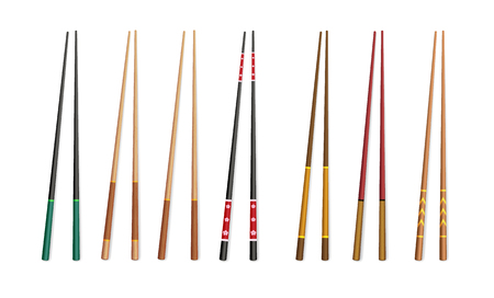 3d chopsticks. Asian traditional bamboo and plastic appliances for eating. Vektorové ilustrace