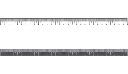 Ruler 30cm. Tool or scale of measurement. School supplies. Metal ruler in millimeters.