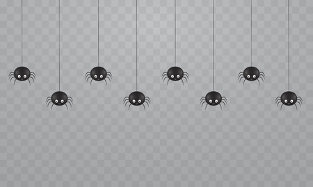 Black hanging cute spiders on a transparent background. Scary spiders on cobwebs for Halloween.