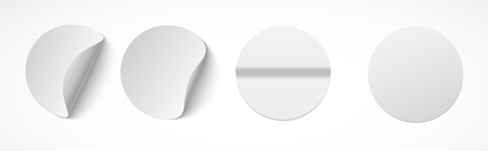 Set of round white sticky labels with bent edges. Empty mockup for memos, price tags, gluing. Ilustrace