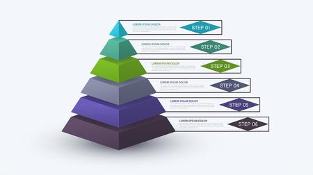 Piramide infografica con struttura a gradini. Concetto di affari con 6 opzioni o passaggi. Diagramma a blocchi, grafico delle informazioni, banner per presentazioni, flusso di lavoro. Vettoriali