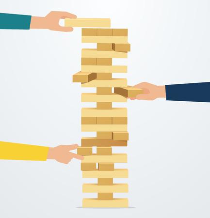 Riesgo y estrategia empresarial. Las manos colocan bloques de madera en la torre. Pensamiento en equipo, lluvia de ideas Ilustración de vector