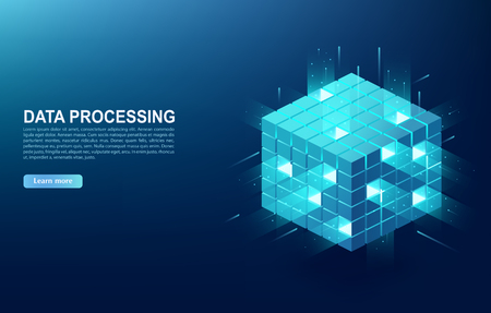 Concept of  big data processing center, cloud database, server energy station of future. Digital information technologies in form of cube, web banner.