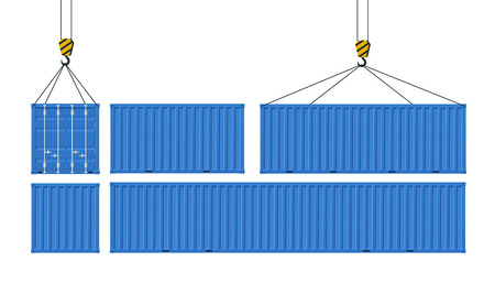 Set of cargo containers for transport of goods. Crane lifts blue container. Concept of worldwide delivery.