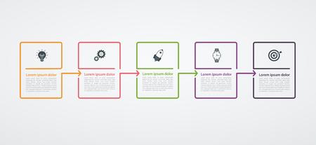 Plansza szablon projektu ze strukturą kroku. Koncepcja biznesowa z 5 opcjami lub krokami. Schemat blokowy, wykres informacyjny, baner prezentacji, obieg dokumentów. Ilustracje wektorowe