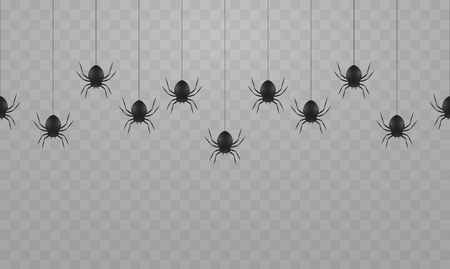 Black hanging spiders on a transparent background. Scary spiders on cobwebs for Halloween.