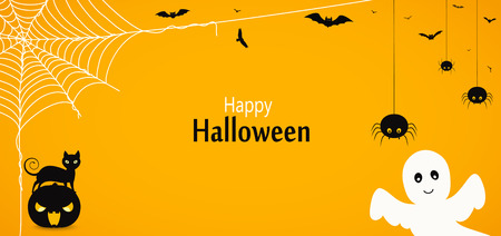 Happy Halloween. Yellow background or banner with cat on pumpkin, flying ghost, descending spiders, cobweb and bats.