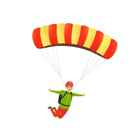 Fallschirmsprung. Glücklicher Fallschirmjäger steigt mit einem Fallschirm am Himmel ab. Konzept der sportlichen Aktivität, Freizeit auf Natur in der Luft.