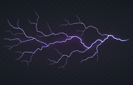 Flash of lightning, thunderstorm on a black transparent background. Bright glowing electric discharge.