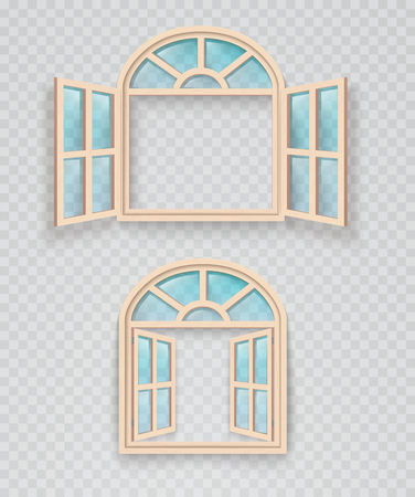 Open and closed wooden window on a transparent background. Exterior and interior window frames.
