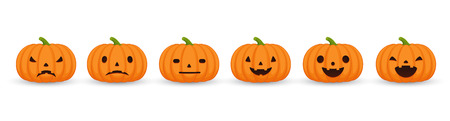 Set of halloween pumpkins, funny and scary facial expressions. Pumpkin set of emotions on  white background.