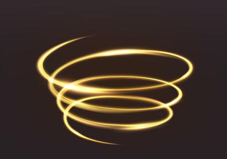 Golden glowing light, the magic brilliance of sparkling wave lines. Spiral shiny flash on dark background. Ilustração Vetorial