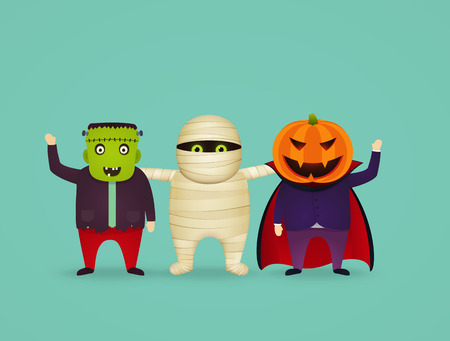 Halloween characters in costume mummy.